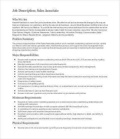 Sales Job Description   Free Word  Documents Download