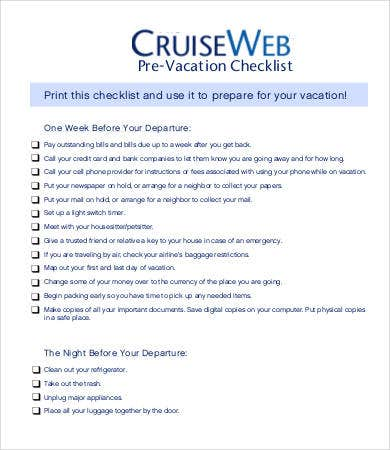 Cruise Pre Vacation Checklist Template