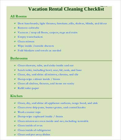 vacation rental cleaning checklist template