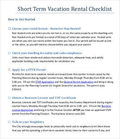 Short Term Vacation Rental Checklist Template