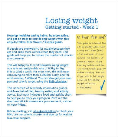 weekly weight loss record chart template