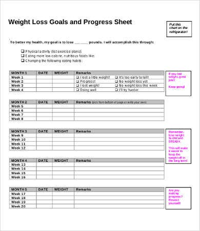 Weekly Weight Loss Progress Chart Template