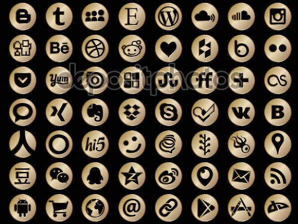 64 round gold social media icons