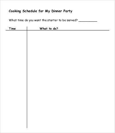 Dinner Party Schedule Template