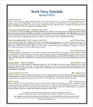 Work Party Schedule Template