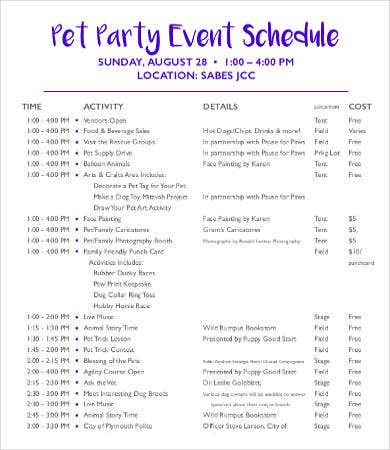 Party Event Schedule Template