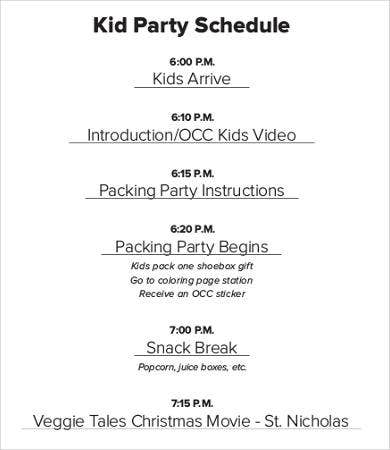 Kid's Party Schedule Sample