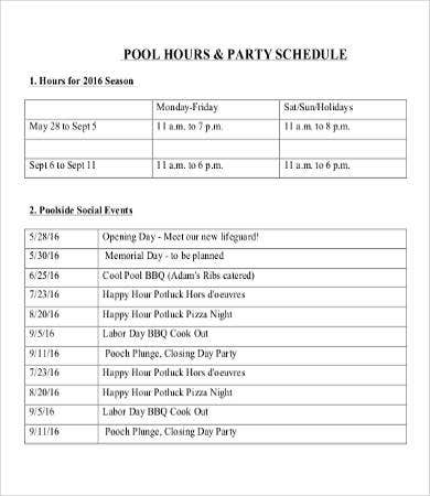 Pool Party Schedule Template