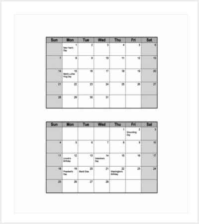 36 Calendar Template – Sample Julian Calendar