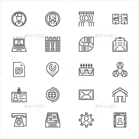 outline contact icons