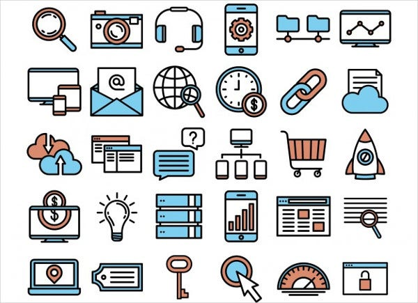 Free Vector SEO and Marketing Icons