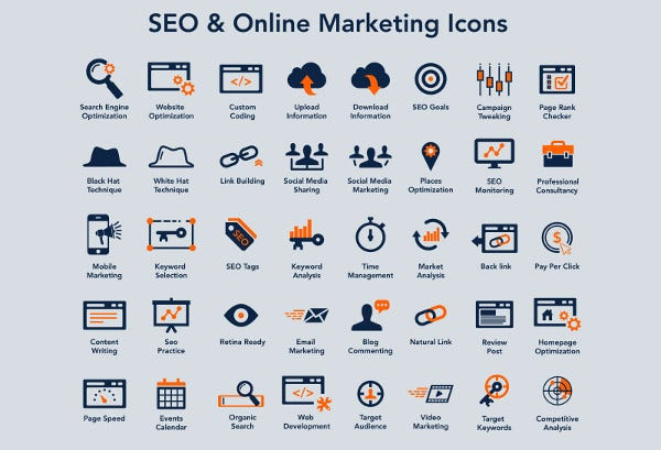Free Seo and Online Marketing Icons