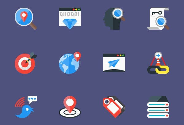 Flat SEO and Marketing Icons
