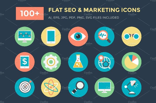 100+ Flat Seo and Marketing Icons