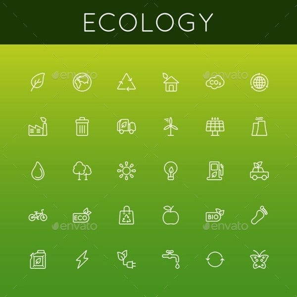 Ecology Vector Line Icons Set