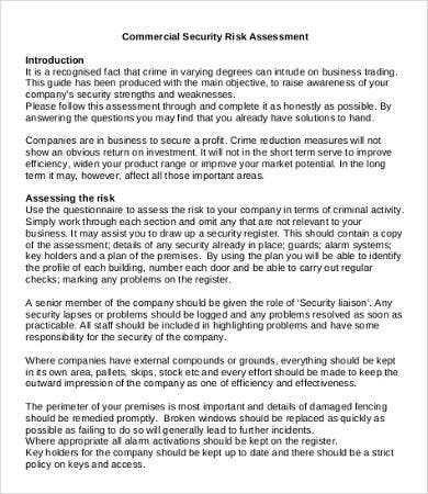 Security assessment template 9 free word pdf documents for Risk assessment security survey template