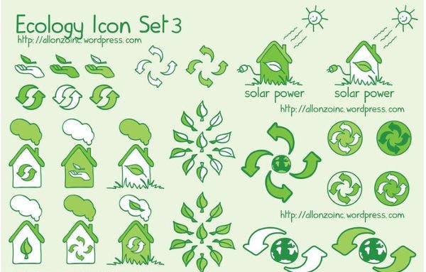 Flat Ecology Icons Set