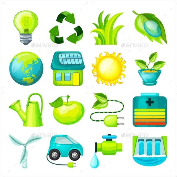 Ecology Cartoon Icons