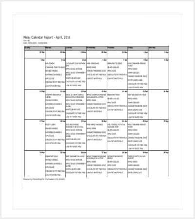 menu calendar free pdf template min