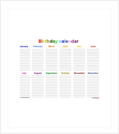 office birthday calendar template min1