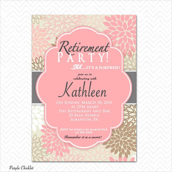 9 surprise party invitation free sample example for Retirement invitation template free