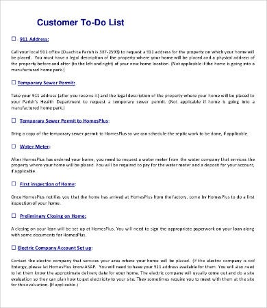 customer to do list template