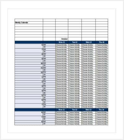 weekly calendar excel template min1