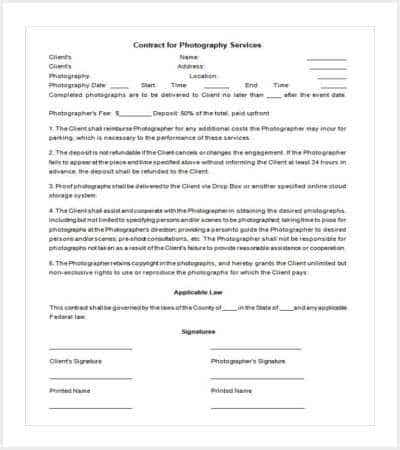 Photography Event Contract Template  Contract Layouts