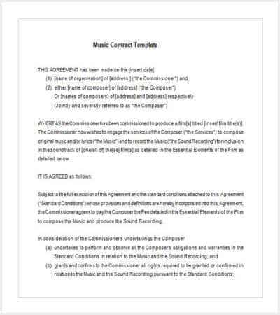 free basic music contract template min