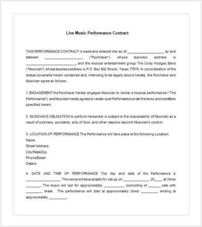 42 Contract Templates – Performance Contract Template
