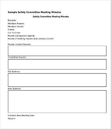 safety meeting minutes template
