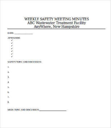 safety meeting minutes template 9 free word pdf documents