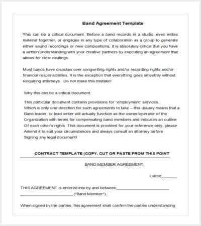 free band agreement template doc min