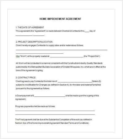 42 Contract Templates – Remodeling Contract Template