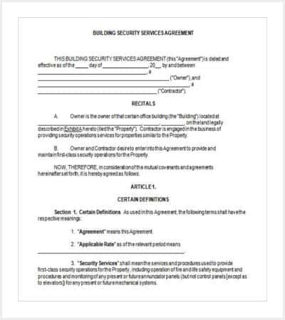 42 contract templates free premium templates for Security contracts templates