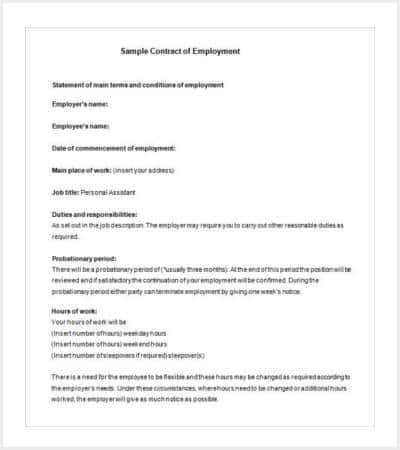 example job contract template min