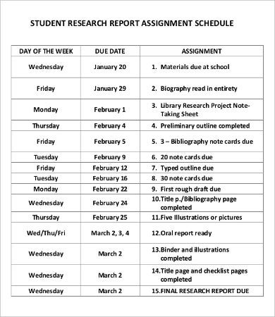 Student Schedule Template   Free Pdf Documents Download  Free