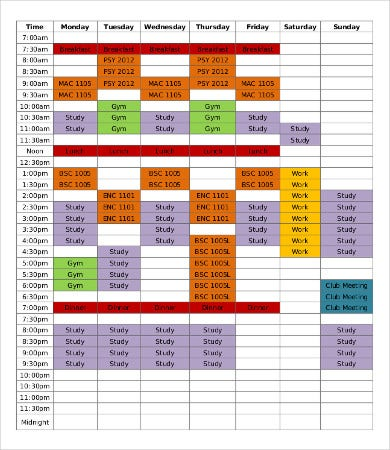 student study schedule sample