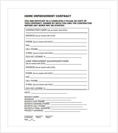 home improvement contract template sample min