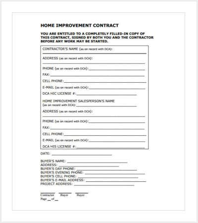FREE TEMPLATE CONTRACT CONSTRUCTION