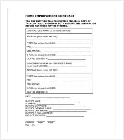 printable house renovations contractor agreement min