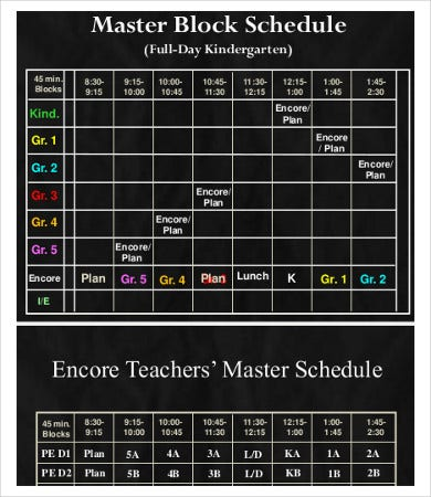 elementary student schedule template