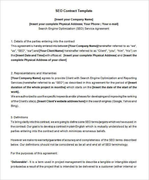 Lovely Editable Sample SEO Contract Template Inside Contract Layouts