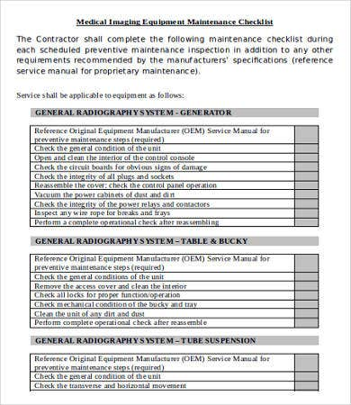 Equipment Checklist Template   Free Word Pdf Documents