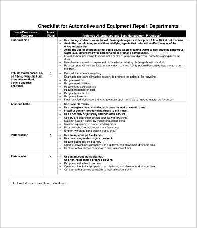 Equipment Repair Checklist Template