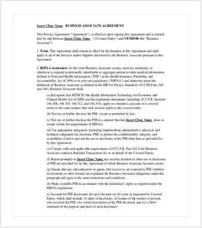 42 Contract Templates – Business Associate Agreement Template