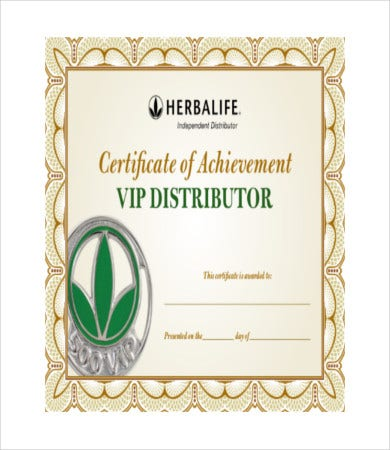 distributor certificate of achievement