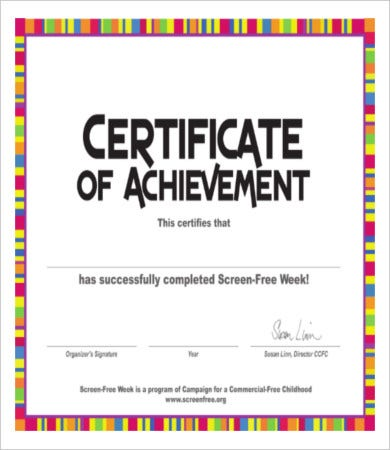 Free Certificate Of Achievement  Free Certificate Of Achievement
