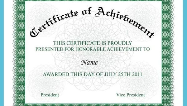 Achievement Certificate Template from images.template.net