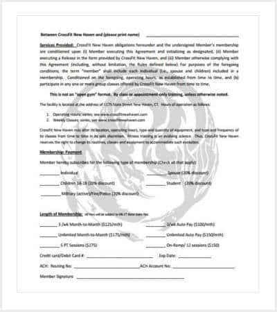 crossfit gym contract template min